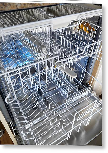Empty Drawers Greeting Cards - Open Dishwasher Greeting Card by Tek Image