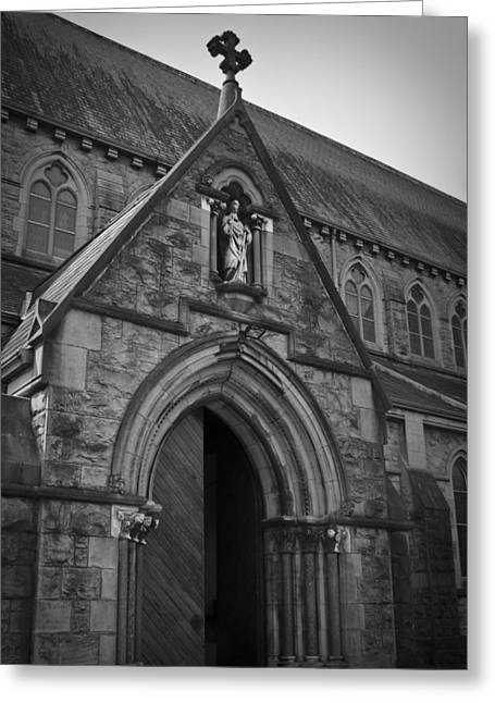 Gothic Cross Greeting Cards - Open Door at St Marys Nenagh Ireland Greeting Card by Teresa Mucha