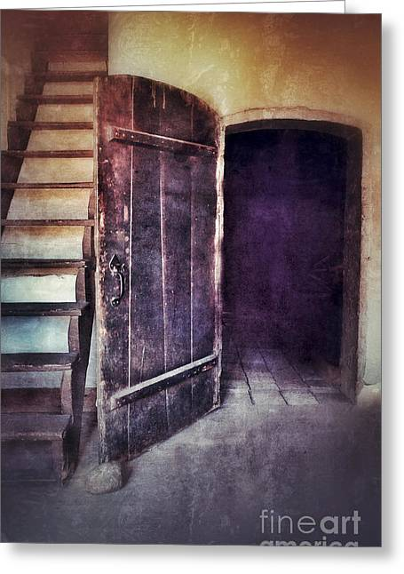 Open Door By Staircase Greeting Card by Jill Battaglia