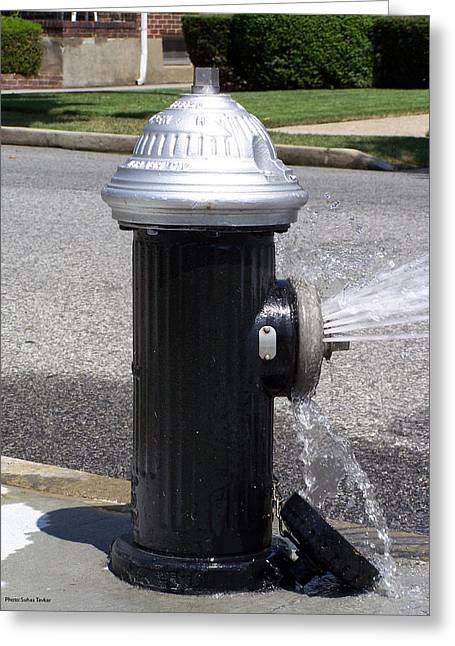 Fire Reliefs Greeting Cards - Open fire hydrant Greeting Card by Suhas Tavkar