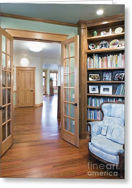 Hardwood Flooring Greeting Cards - Open French Doors and Home Library Greeting Card by Andersen Ross