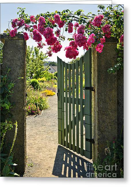 Over Hang Greeting Cards - Open garden gate with roses Greeting Card by Elena Elisseeva