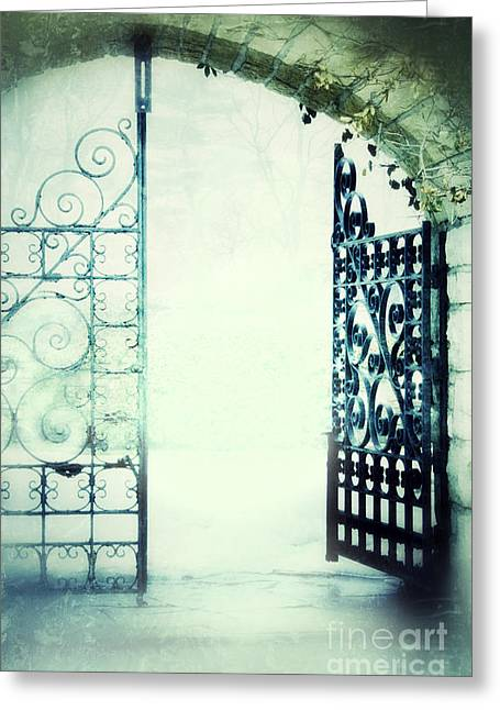 Eerie Greeting Cards - Open Iron Gate in Fog Greeting Card by Jill Battaglia