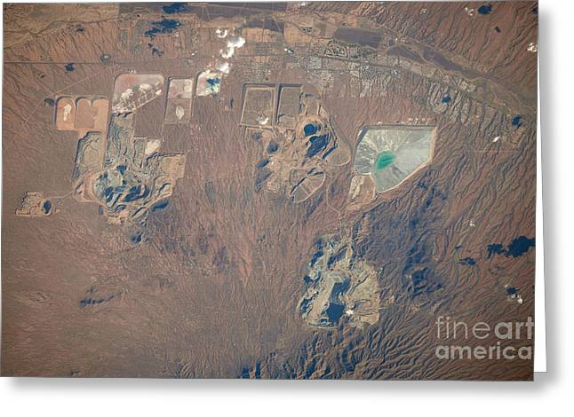 Mining Photos Greeting Cards - Open Pit Mines, Southern Arizona Greeting Card by NASA/Science Source