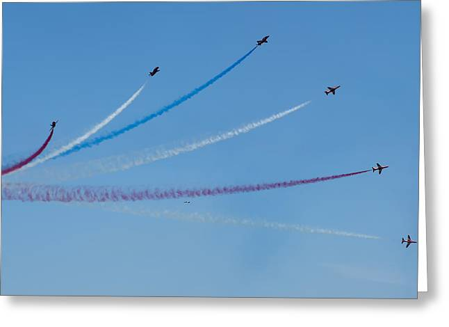 Gallantry Greeting Cards - open sky - Red arrows air show in multi color smoke draw Greeting Card by Pedro Cardona