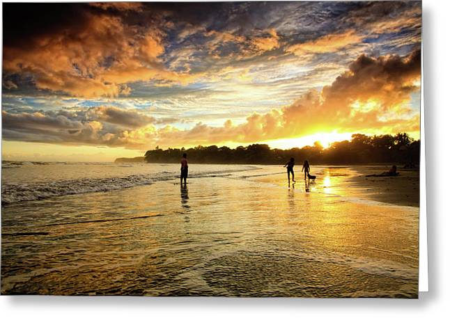 Sunset At The Beach Greeting Cards - Open View Greeting Card by Iris Greenwell