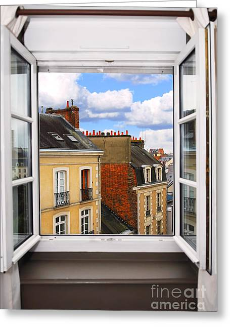 Rooftop Photographs Greeting Cards - Open window Greeting Card by Elena Elisseeva