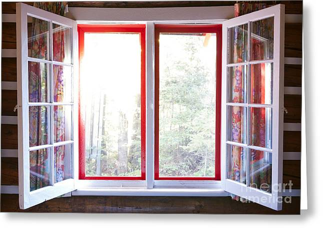 Window Frame Greeting Cards - Open window in cottage Greeting Card by Elena Elisseeva