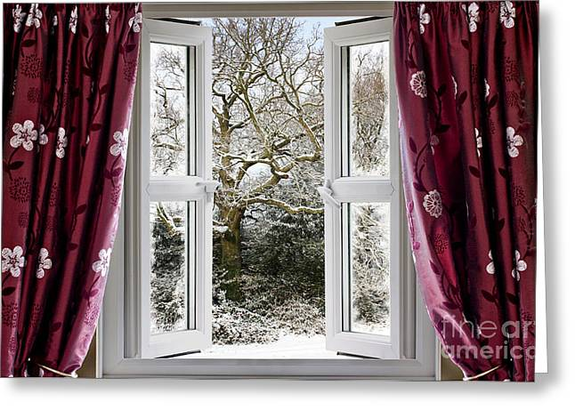 Best Sellers -  - White Cloth Greeting Cards - Open window with winter scene Greeting Card by Simon Bratt Photography LRPS