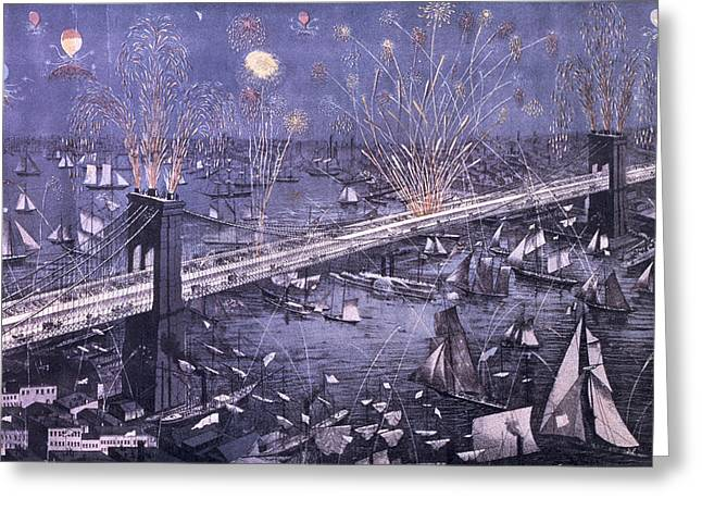 Under Fire Greeting Cards - Opening of the Great New York and Brooklyn Bridge and grand display of fire works Greeting Card by American School