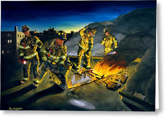 Firefighters Greeting Cards - Opening Up Greeting Card by Paul Walsh