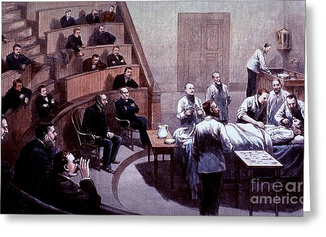 Pioneer Illustration Greeting Cards - Operating Amphitheater, Administering Greeting Card by Science Source
