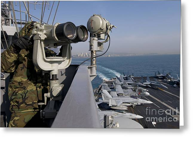 On The Lookout Greeting Cards - Operations Specialist Seaman Stands Greeting Card by Stocktrek Images