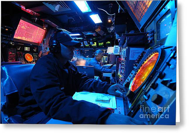 Command Center Greeting Cards - Operations Specialist Stands Watch Greeting Card by Stocktrek Images