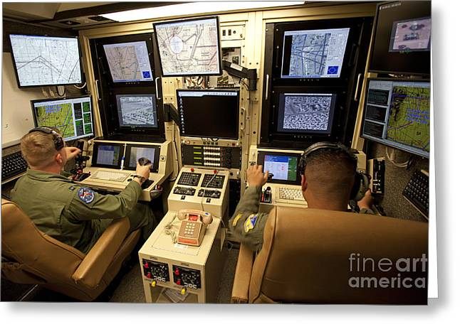 Command Center Greeting Cards - Operators Control Uavs From A Ground Greeting Card by HIGH-G Productions