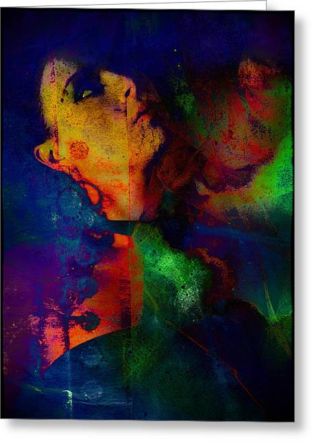 Ophelia In Neon Greeting Card by Adam Kissel