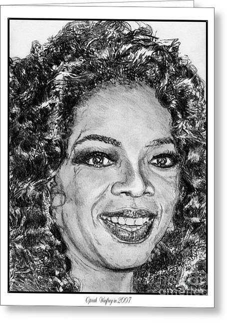 African-american Drawings Greeting Cards - Oprah Winfrey in 2007 Greeting Card by J McCombie