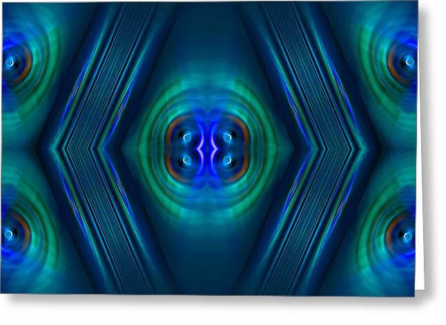 Geometrical Art Greeting Cards - Optical Blue Greeting Card by Carolyn Marshall
