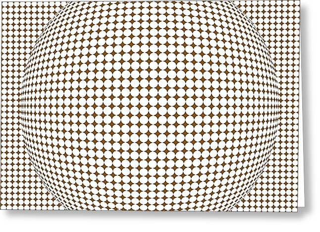 Surrealism Greeting Cards - Optical illusion brown ball Greeting Card by Sumit Mehndiratta