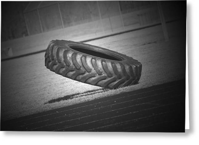 Tractor Tire Greeting Cards - Optical Illusions Tire  Greeting Card by Cathy  Beharriell