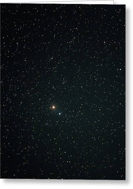 Planet Mars Greeting Cards - Optical Image Of Mars Near The Bright Star Spica Greeting Card by John Sanford