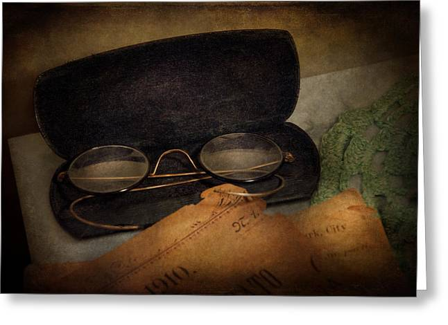 Medication Greeting Cards - Optometrist - Glasses for Reading  Greeting Card by Mike Savad