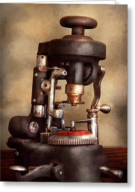 Optometry - Lens Cutting Machine Greeting Card by Mike Savad