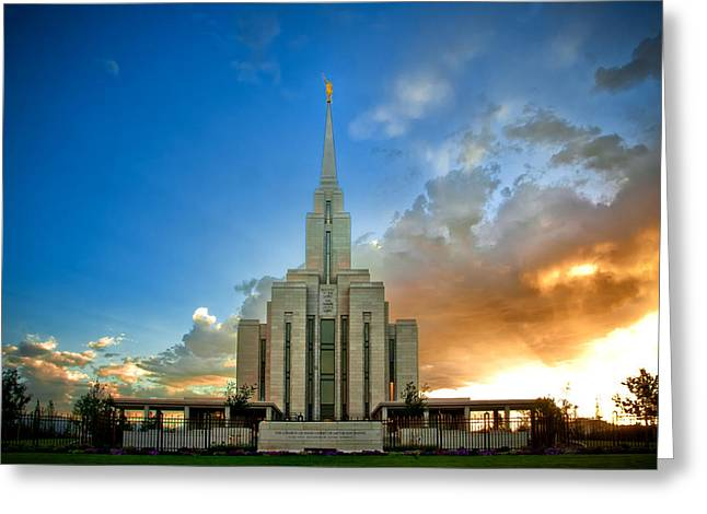 Utah Temple Photography Greeting Cards - Oquirrh Mtn Temple Setting Sun Greeting Card by La Rae  Roberts