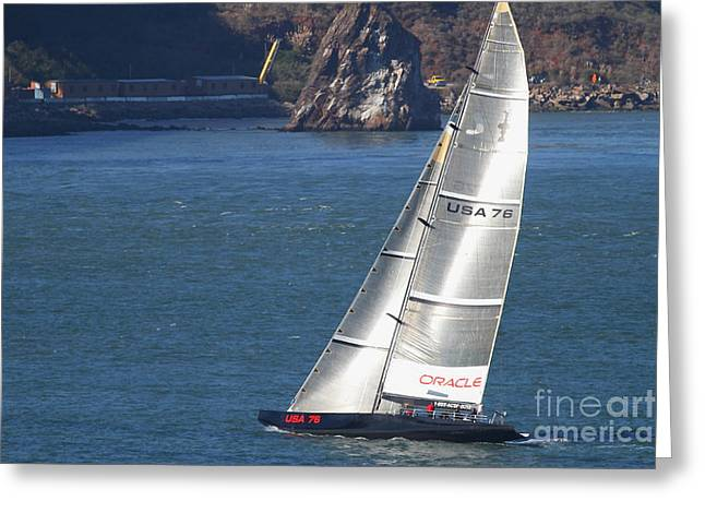Americas Cup Greeting Cards - Oracle Racing Team USA 76 International Americas Cup Sailboat . 7D8069 Greeting Card by Wingsdomain Art and Photography