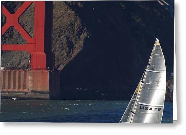 Oracle Racing Team USA 76 International America's Cup Sailboat . 7D8071 Greeting Card by Wingsdomain Art and Photography