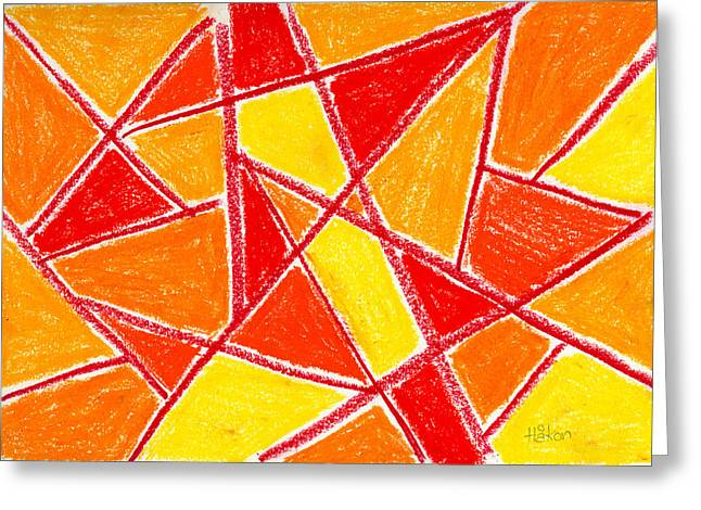 Checker Pastels Greeting Cards - Orange Abstract Greeting Card by Hakon Soreide