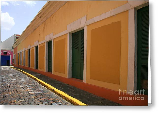Caribbean Architecture Greeting Cards - Orange Alley Greeting Card by Timothy Johnson