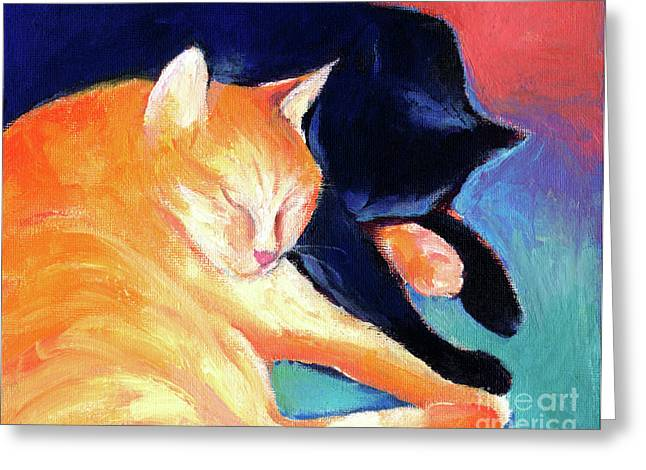 Cat Drawings Greeting Cards - Orange and Black tabby cats sleeping Greeting Card by Svetlana Novikova