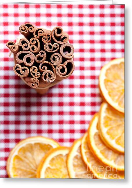 Table Wine Greeting Cards - Orange and Cinnamon Greeting Card by Nailia Schwarz