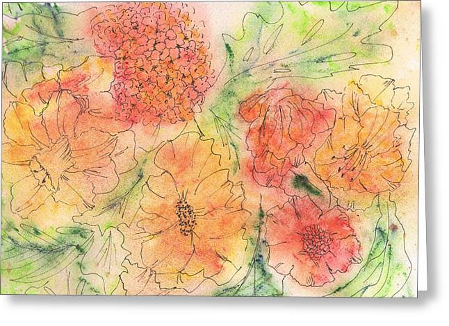 Fanciful Paintings Greeting Cards - Orange and Yellow Blossoms Greeting Card by Christine Crawford