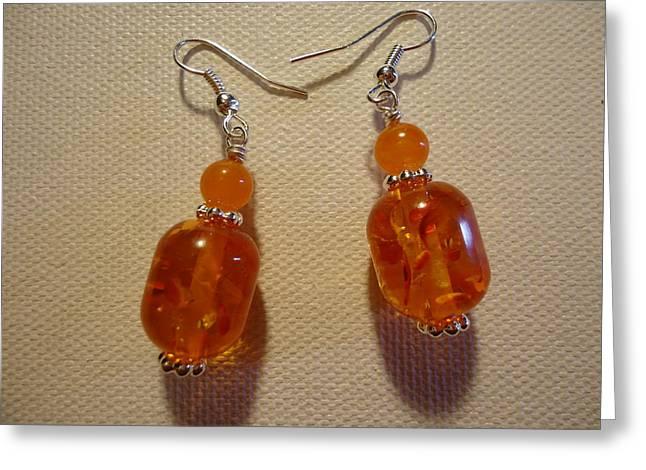 Orange Earrings Greeting Cards - Orange Ball Drop Earrings Greeting Card by Jenna Green