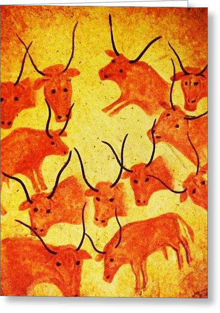 Puerto Vallarta Mixed Media Greeting Cards - Orange Bulls Greeting Card by Unique Consignment