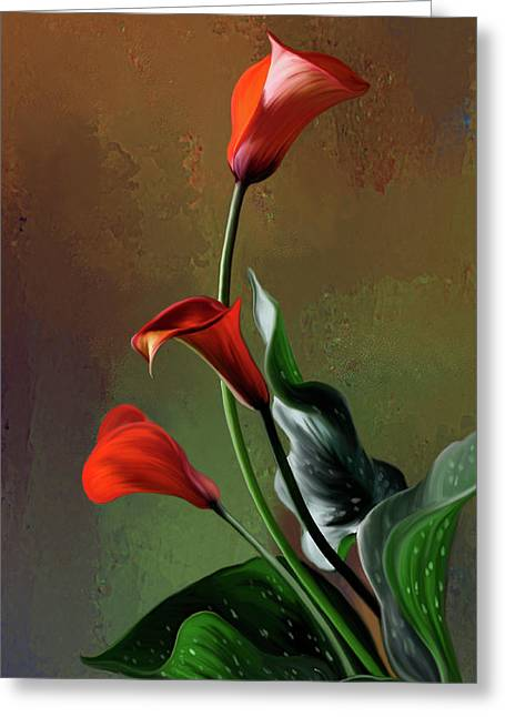 Calla Lily Greeting Cards - Orange Calla lily Greeting Card by Thanh Thuy Nguyen