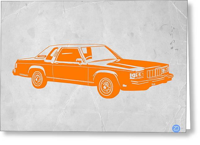 Kid Greeting Cards - Orange Car Greeting Card by Naxart Studio