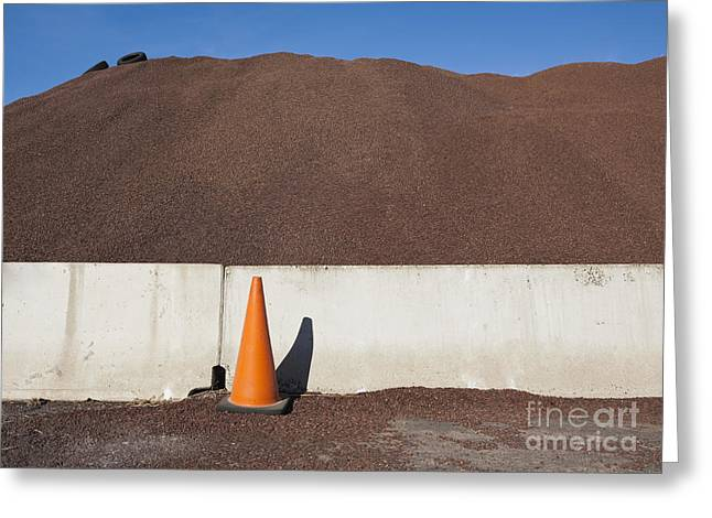Safety Cones Greeting Cards - Orange Cone and Gravel Pile Greeting Card by Paul Edmondson