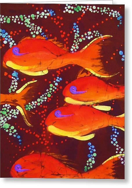Orange Tapestries - Textiles Greeting Cards - Orange Coral Reef Fish Greeting Card by Kay Shaffer