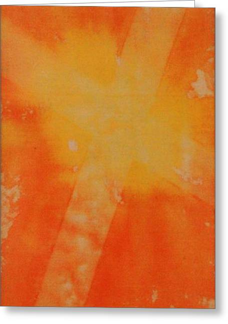 Cross Tapestries - Textiles Greeting Cards - Orange Cross Greeting Card by Brandi Webster