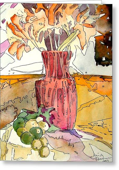 Floral Still Life Mixed Media Greeting Cards - Orange Day Lilies and Green Grapes Greeting Card by Mindy Newman