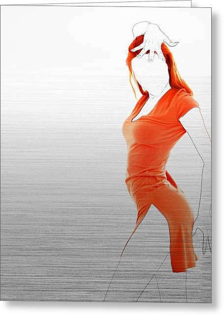Party Digital Art Greeting Cards - Orange Dress Greeting Card by Naxart Studio