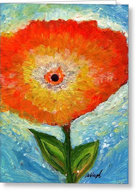 Dream Scape Greeting Cards - Orange Flower Pop  Greeting Card by Ashleigh Dyan Bayer