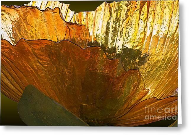 Hightower Greeting Cards - Orange Glass Flower Greeting Card by Tim Hightower