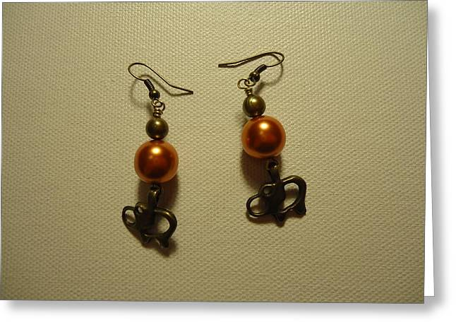 Jenna Jewelry Greeting Cards - Orange Gold Elephant Earrings Greeting Card by Jenna Green