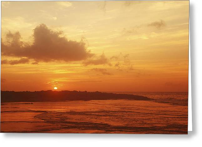 Vince Greeting Cards - Orange Hawaiian Sunset Greeting Card by Vince Cavataio - Printscapes
