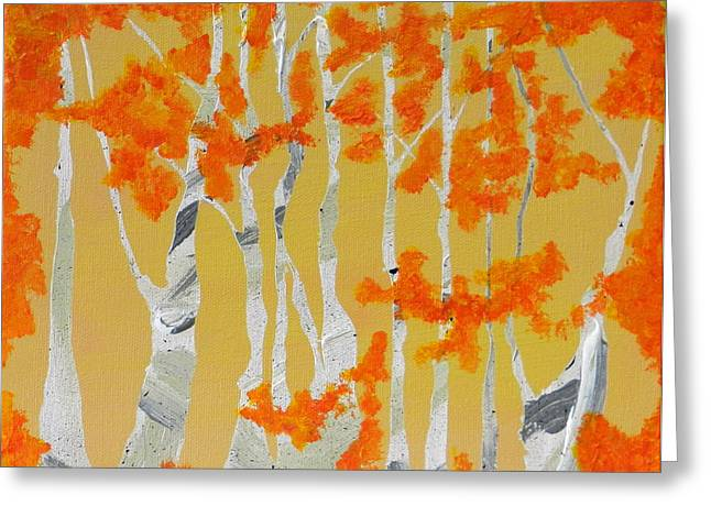 Engulfing Paintings Greeting Cards - Orange Greeting Card by Heather  Hubb