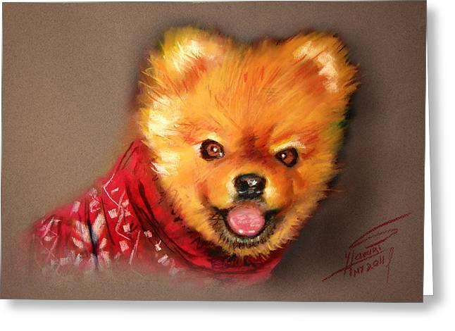 Dog Pastels Greeting Cards - Orange in Red Greeting Card by Ylli Haruni